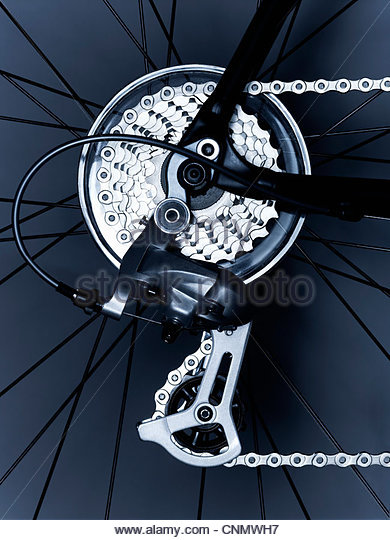 Close up of bicycle gears and chain - Stock Image