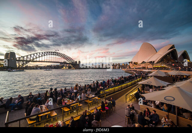 Sydney Harbour with the Harbour Bridge and Opera House after sunset, Sydney, New South Wales, Australia, Pacific - Stock-Bilder