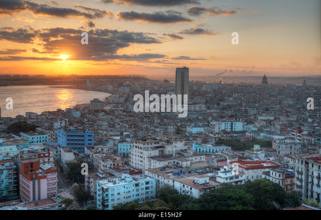 View of historic downtown of Havana, Cuba - Stock Image