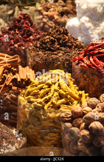 Variety of Spices in a spice market in an old city. - Stock Image