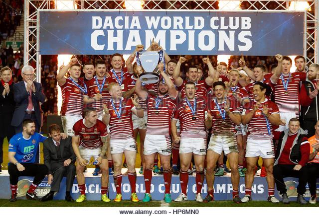 Britain Rugby League - Wigan Warriors v Cronulla-Sutherland Sharks - World Club Challenge - DW Stadium - 19/2/17 - Stock-Bilder