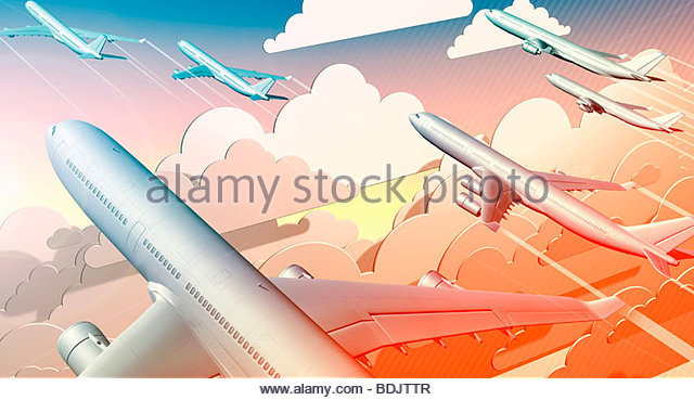 Group of airplanes taking off into sky - Stock Image