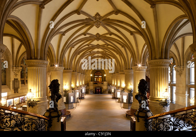View from staircase at entrance hall, Hamburg Town Hall, Hanseatic city of Hamburg, Germany, Europe - Stock Image