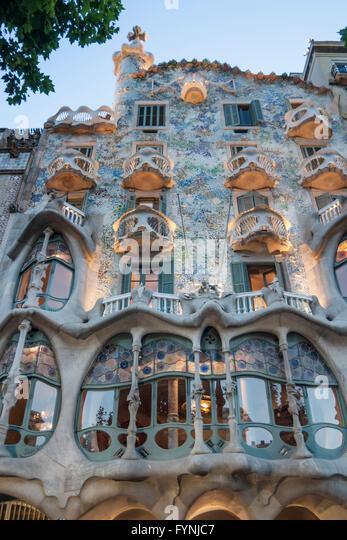 Casa Batllo , Antoni Gaudi, Facade, Modernisme, Art Nouveau,  Barcelona, Spain - Stock Image