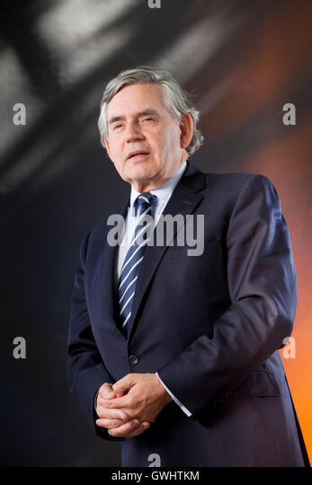Gordon Brown, the British politician, former Prime Minister and writer, at the Edinburgh International Book Festival. - Stock Image
