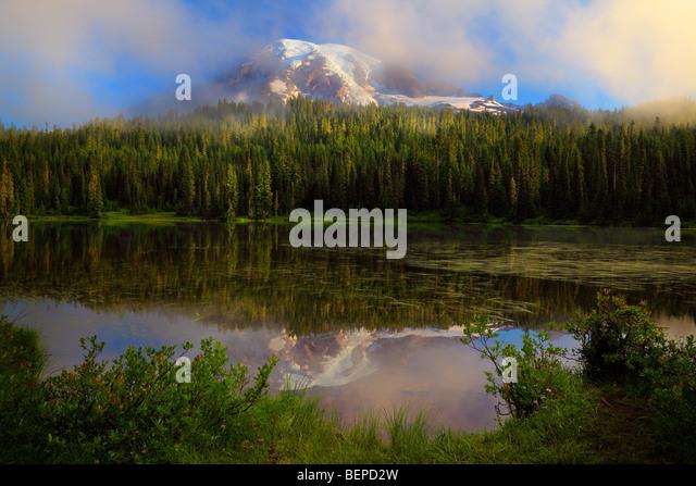 Misty Reflection at Mount Rainier's Reflection Lakes - Stock Image