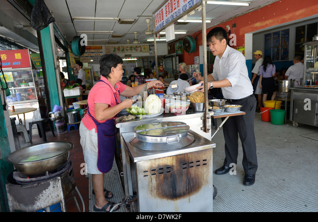Asia Malaysia Penang Chinatown Small eateries - Stock Image