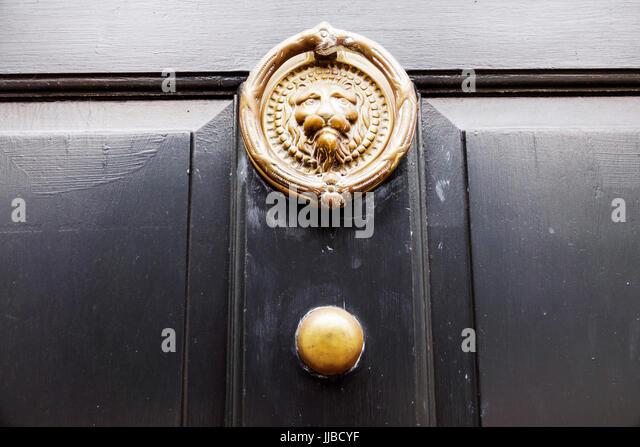 Charleston South Carolina SC Historic Downtown door knocker antique lion - Stock Image