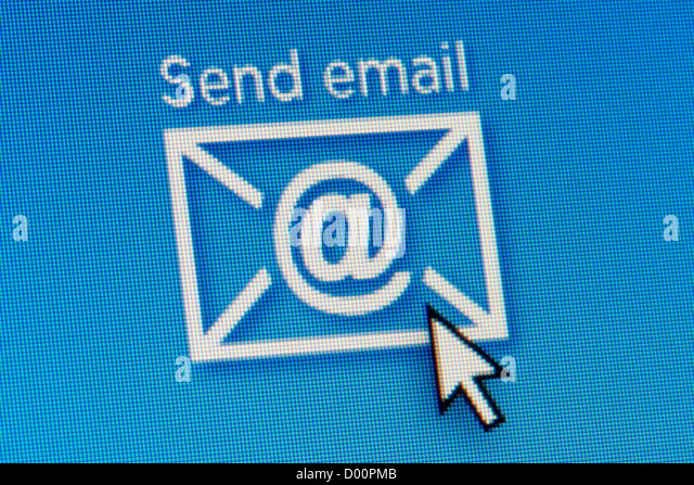 Close up of a computer screen featuring a mouse hovering over a send email icon. - Stock Image