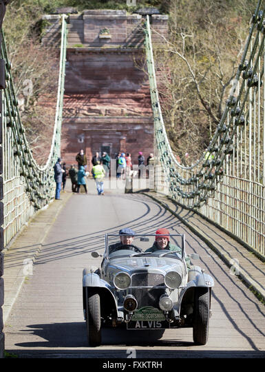 Scottish Border, UK. 16th April, 2016. 8th Flying Scotsman Rally. Bill Ainscough and Jason Dearden in a 1936 Alvis - Stock Image