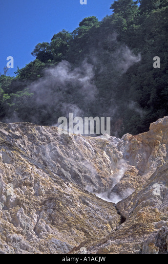 St Lucia Sulphur Springs hot springs steam - Stock Image