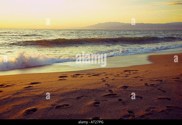 Sunset in Almadraba beach. Cabo de Gata Nature Reserve. Almeria province. Andalusia. Spain. - Stock Image