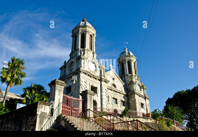 Antigua Anglican Cathedral of St. John the Divine with white baroque towers - Stock Image