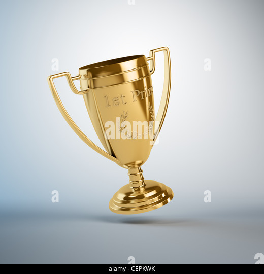 A golden trophy for the first place - Stock Image