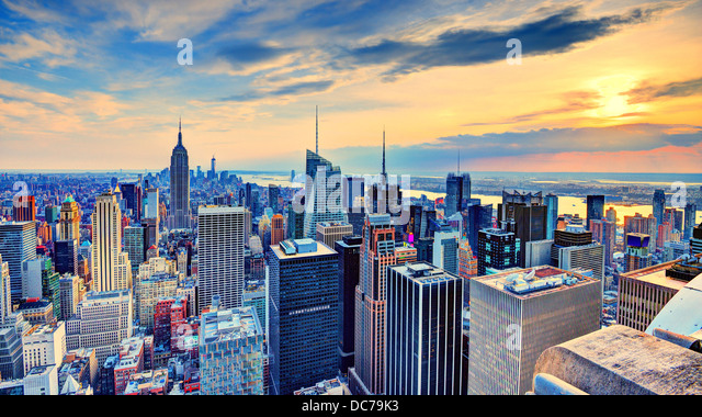 New York City, USA midtown skyline at dusk. - Stock Image