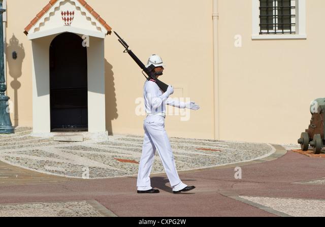 Royal Guard at Grimaldi palace, Monaco - Stock Image