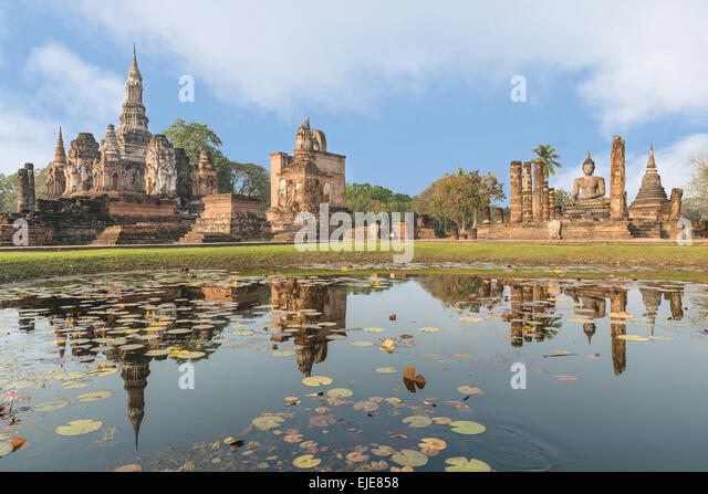 Sukhothai historical park in Thailand - Stock Image