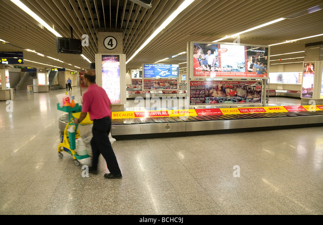 Empty Baggage claim conveyors, Arrivals, Malta International airport, Malta - Stock-Bilder