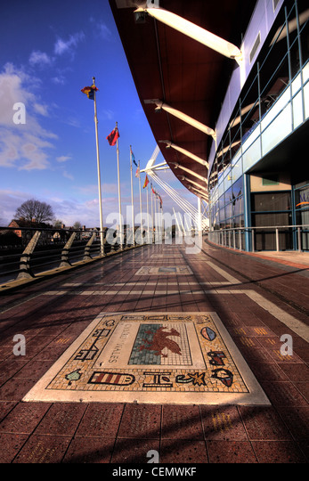 Cardiff Millenium Rugby Stadium, Wales City, UK  Wide angle view showing the Welsh team Mosaic on the floor, blue - Stock Image