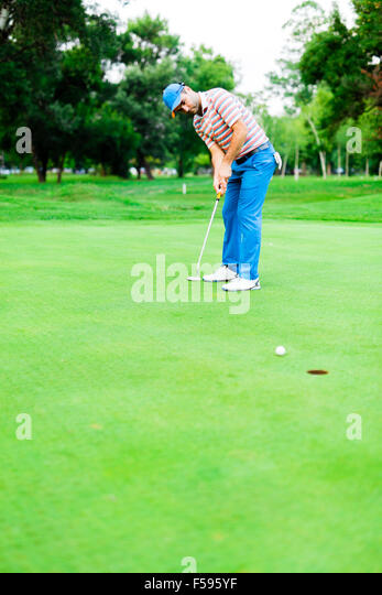 Golfer takes the putting green shot and ball is closing in on the hole - Stock Image