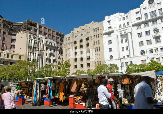 Greenmarket Square Cape Town on a market day - Stock Image