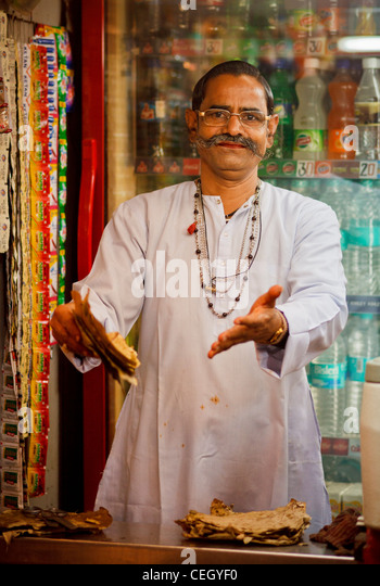 Paan (betel nut) seller at chowpatty Beach - Stock Image