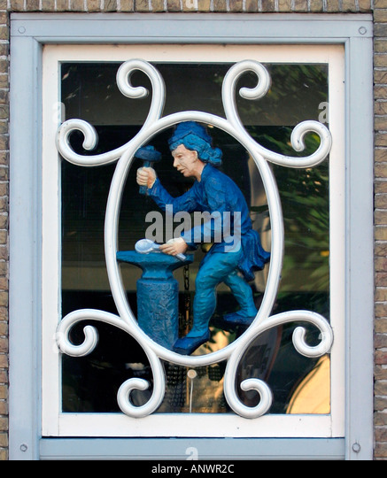 Window over door of the silverhouse in Schoonhoven Zuid Holland The Netherlands - Stock Image