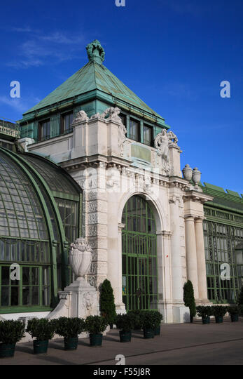 Palm house (Palmenhaus) at Burggarten,  Vienna, Austria, Europe - Stock Image