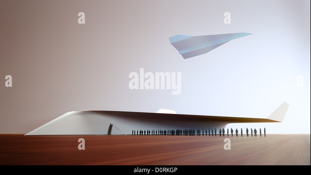 Tiny people boarding a paper plane - Stock Image
