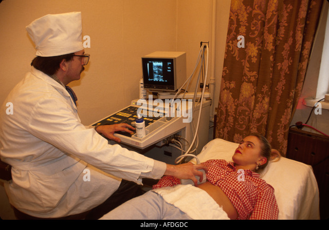 Ukraine L'vov L'viv State Hospital ultrasound diagnosis doctor patient - Stock Image