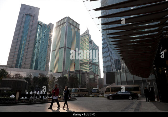 Skyscrapers holding upscale hotels and offices dominate the centre of Chengdu in Sichuan province in China. - Stock-Bilder