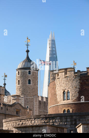 London skyline, concept of Old and New, Ancient and Modern; The Tower of London with the Shard; London England UK - Stock Image