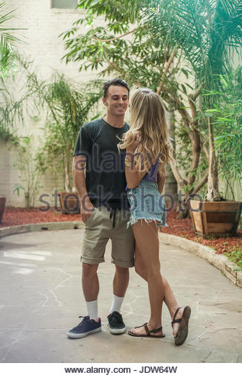 Young romantic couple being flirtatious - Stock-Bilder