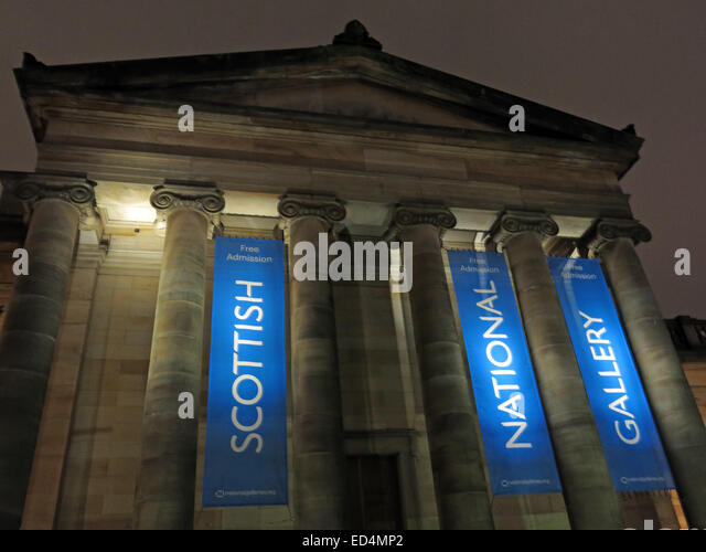 Scottish National Gallery at night, The Mound/Princes St, Edinburgh, Scotland UK - looking up - Stock Image