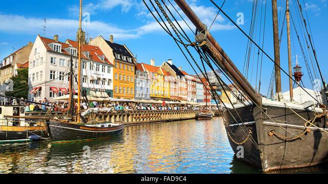 Nyhavn Canal, Copenhagen old town, Denmark - Stock Image