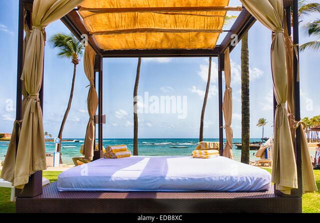 Cabana Tent on a Caribbean Beach, San Juan, Puerto Rico - Stock Image