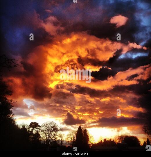 Sunset sky over Godalming in Surrey, UK. - Stock Image