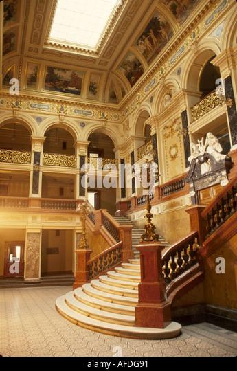 Ukraine L'vov L'viv Opera House lobby staircase interior - Stock Image