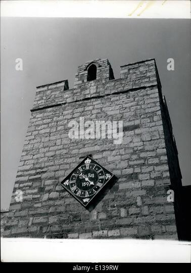 Feb. 29, 2012 - Historical Clock The south tower of Caste Rushen, Castletown, I.O.M. with the clock which was presented - Stock Image