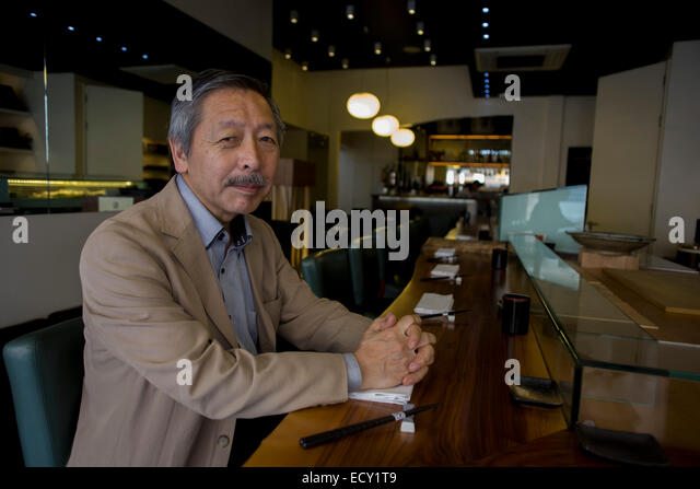 Japanese entrepreneur, Tetsuro Hama at his 'So' restaurant, Soho, London.    From the chapter entitled 'The - Stock-Bilder