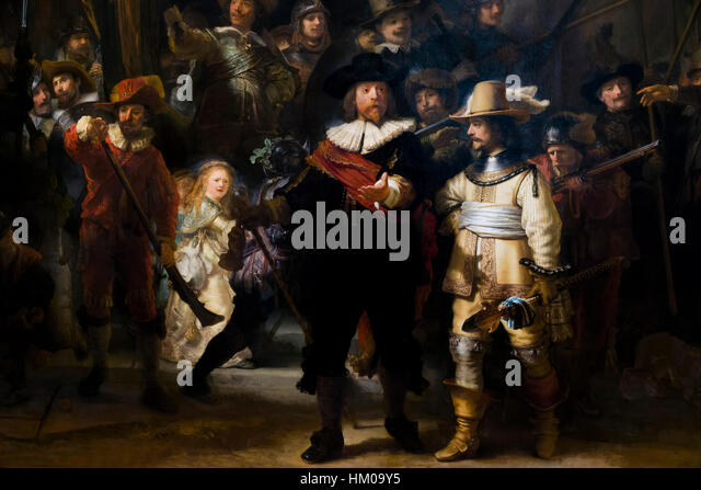 Detail of the Night Watch, Militia Company of District II under the Command of Captain Frans Banninck Cocq, by Rembrandt, - Stock Image