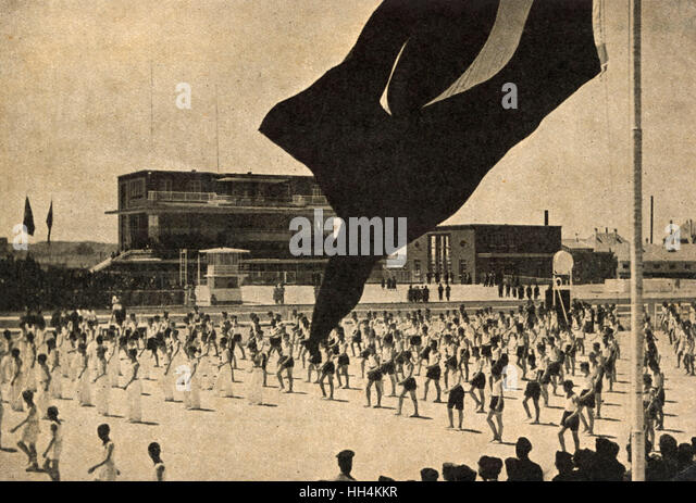 Gymnastics Demonstration in the Stadium, Ankara Turkey. - Stock Image