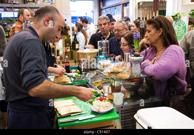 Deli at Old Port Farmers Market in Tel Aviv Israel - Stock Image