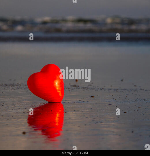 Heart on beach - Stock-Bilder