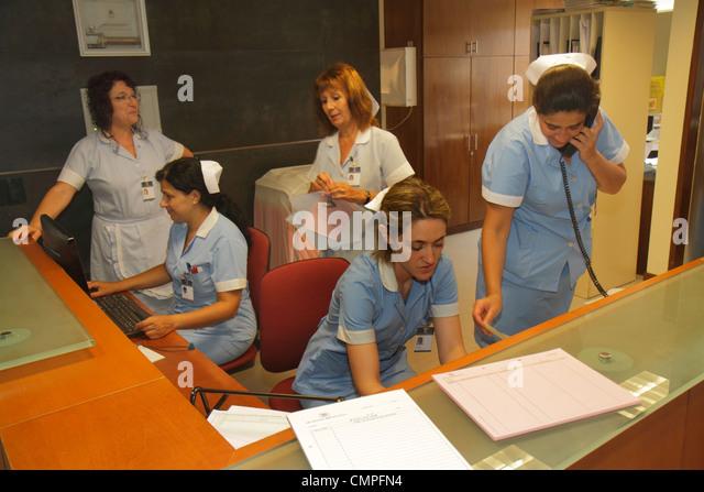 Uruguay Montevideo Hospital Británico Morales Hispanic woman nurse nursing staff station uniform healthcare - Stock Image