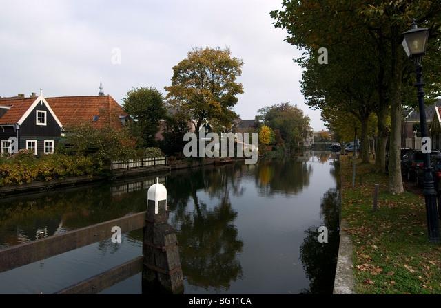 Main canal, outskirts of Edam, Netherlands, Europe - Stock Image