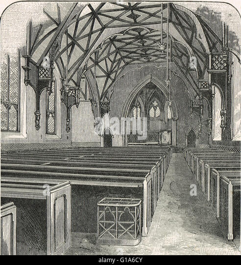 Interior of Tyndale Chapel, Bristol 19th century engraving - Stock Image