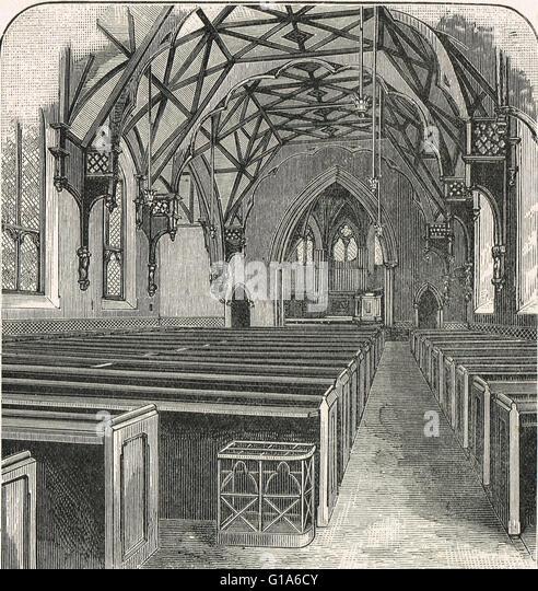 Interior of Tyndale Chapel, Bristol 19th century engraving - Stock Image