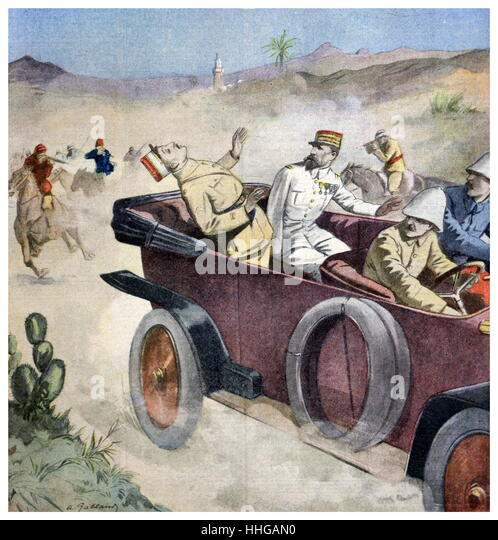 Illustration showing the attempted assassination of the French High Commissioner in Syria, General Gouraud in 1921. - Stock Image