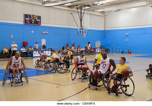Miami Beach Florida Scott Rakow Community Center centre Ability Explosion Colusana Wheelchair Basketball Event man - Stock Image